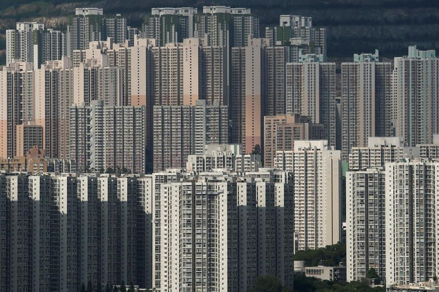Public and private housing blocks are seen in Hong Kong.