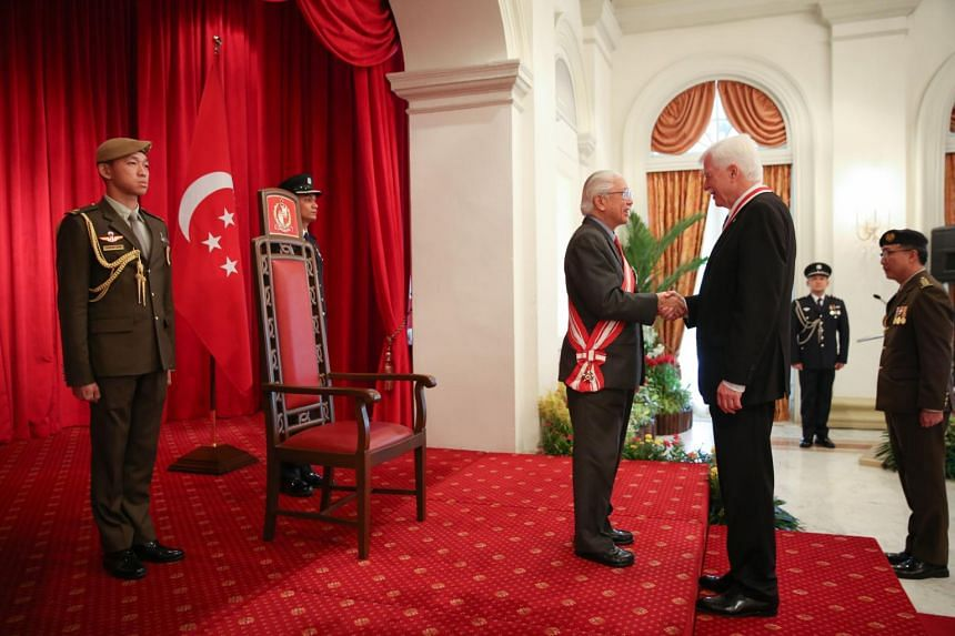 Emeritus Professor Ulrich Werner Suter, 73, of the Swiss Federal Institute of Technology Zurich, was made an honorary citizen of Singapore by President Tony Tan Keng Yam at a ceremony at the Istana on Aug 14, 2017.