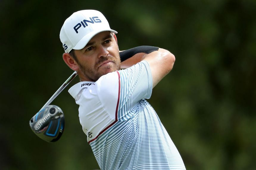 Louis Oosthuizen of South Africa plays his shot from the third tee during the final round of the 2017 PGA Championship at Quail Hollow Club on Aug 13, 2017 in Charlotte, North Carolina.