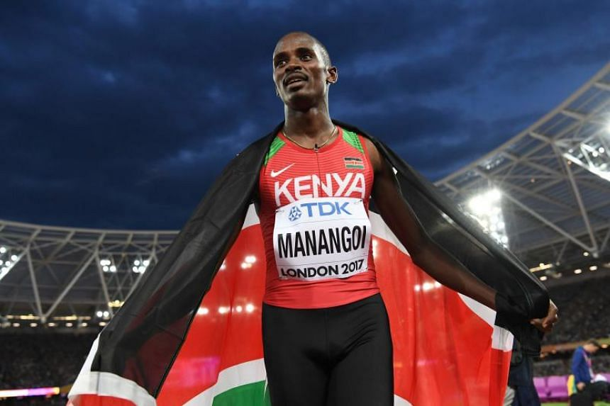 Kenya's Elijah Motonei Manangoi celebrates winning the final of the men's 1500m athletics event at the 2017 IAAF World Championships on Aug 13, 2017.