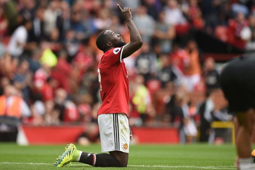 Manchester United's Belgian striker Romelu Lukaku reacts at the final whistle in the EPL match against West Ham United at Old Trafford in Manchester.