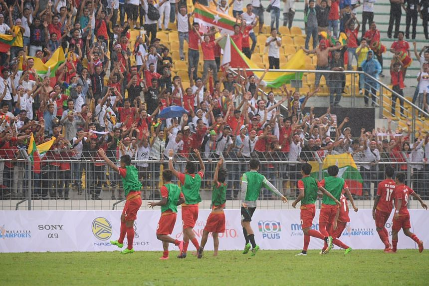 Players from Myanmar celebrating after defeating Singapore 2-0 in the SEA Games football match at the Selayang Stadium in Kuala Lumpur on Aug 14, 2017.