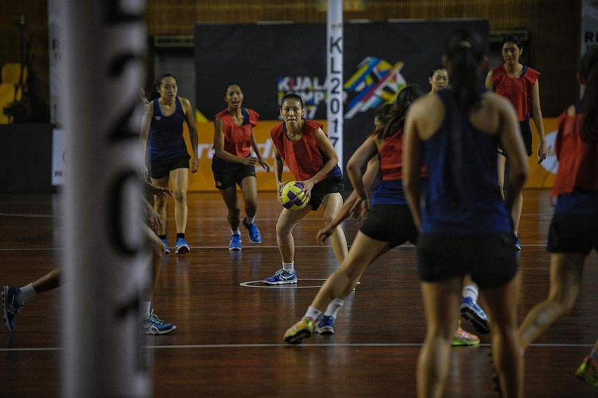 Singapore's netball team training on Aug 13, 2017. Singapore defeated Brunei 62-37 to kick off their SEA Games campaign, on Aug 14, 2017.