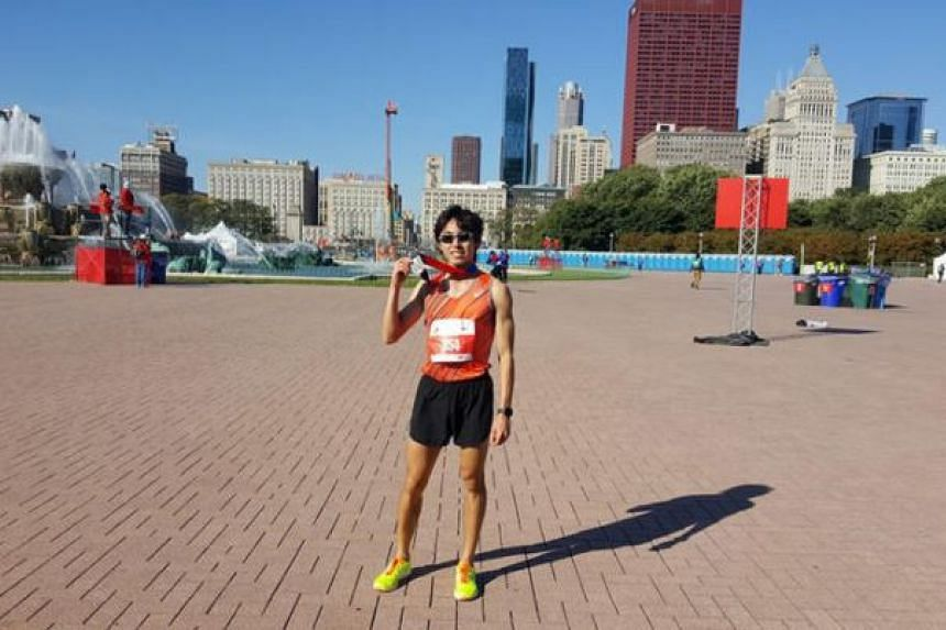 Soh Rui Yong, pictured at the Bank of America Chicago Marathon on Oct 9 2016, has been issued a formal warning by the Singapore National Olympic Council for breaching regulations on promotion of personal sponsors during the sponsors' blackout period
