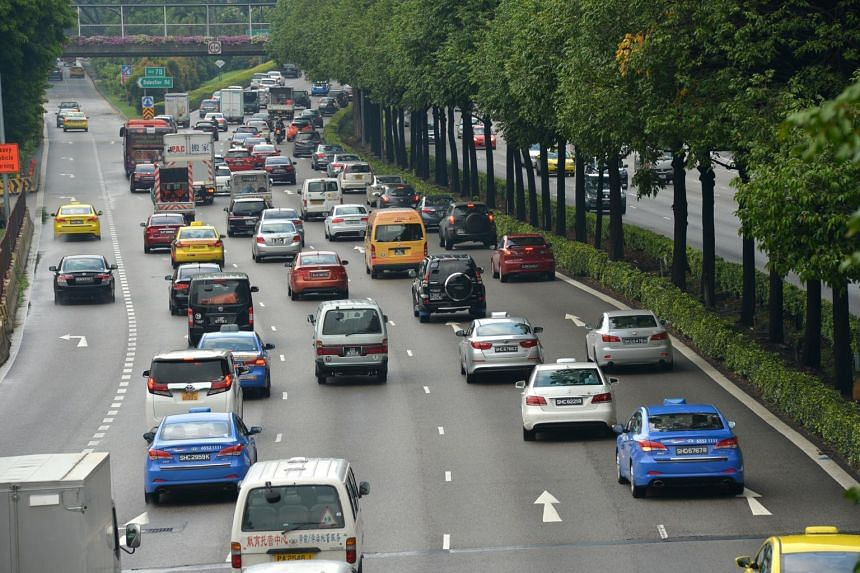 Traffic along the Central Expressway.