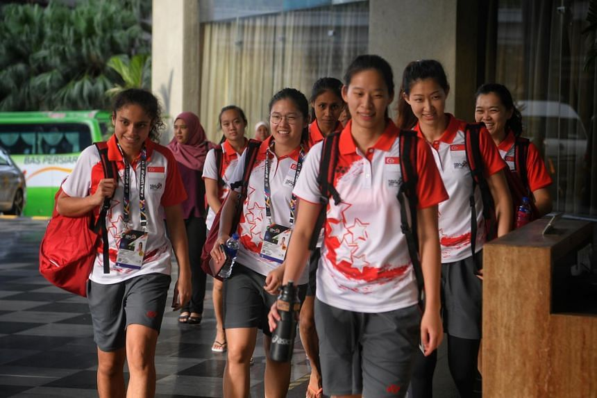 The Singapore national netball team arrives at their hotel after training ahead of the 29th SEA Games in Kuala Lumpur on Aug 12, 2017.