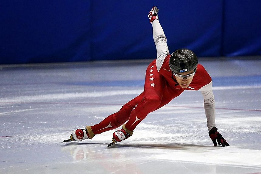 Lucas Ng at a training session in Goyang, South Korea. In January this year, he won the 500m, 1,000m and 1,500m events at the MapleZ South-east Asian Short Track Trophy meet in Singapore.
