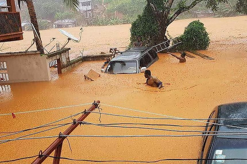 Streets in the mountain town of Regent, near Sierra Leone's capital Freetown, were flooded yesterday and a section of a hill in the area was also reported to have partially collapsed. More than 2,000 people have been left homeless after a mudslide an