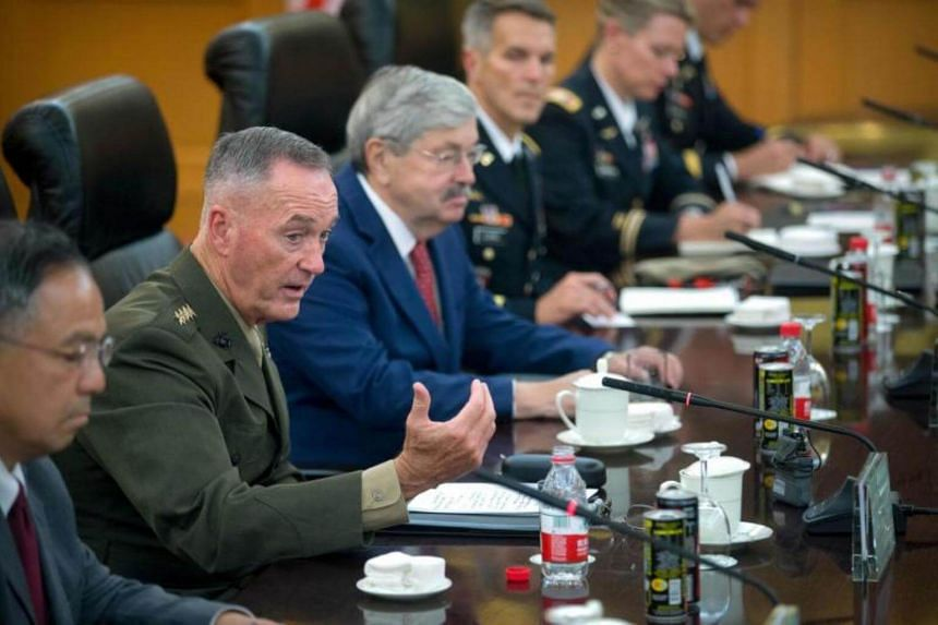 US General Joseph Dunford speaking during a meeting with Chinese General Fang Fenghui, at the Bayi Building in Beijing on Aug 15, 2017.