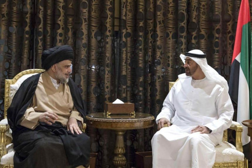 Sheikh Mohamed bin Zayed al-Nahyan (right), Crown Prince of Abu Dhabi and Deputy Supreme Commander of the UAE Armed Forces, meeting with Iraqi Shiite leader Moqtada al-Sadr in Abu Dhabi.