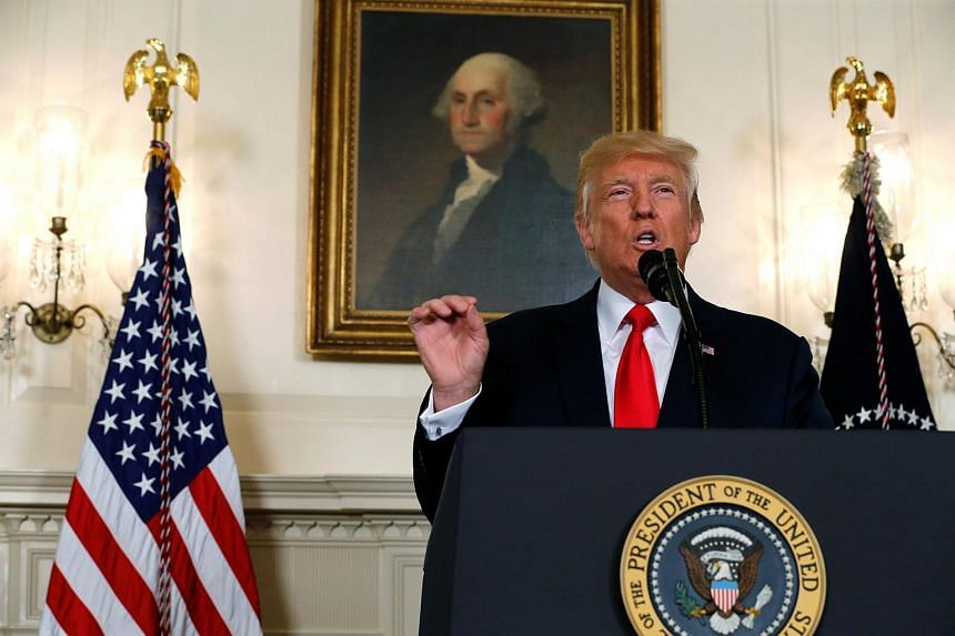 US President Donald Trump delivers a statement on the deadly protests in Charlottesville, at the White House, on Aug 14, 2017.