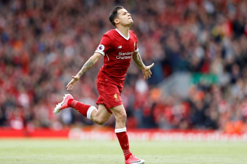 Liverpool's Philippe Coutinho celebrates scoring a goal against  Middlesbrough on May 21, 2017.