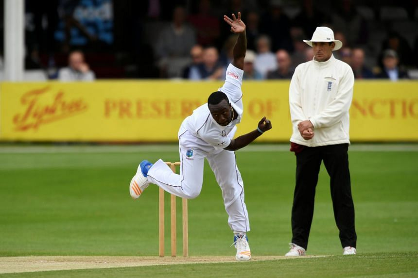 West Indies' Kemar Roach in action on Aug 2, 2017.