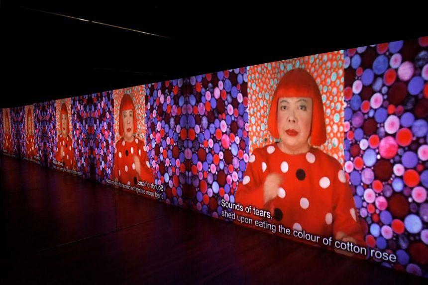 A video installation titled Song Of A Manhattan Suicide Addict (2010) shows Japanese artist Yayoi Kusama singing an original song about her experience dealing with depression.