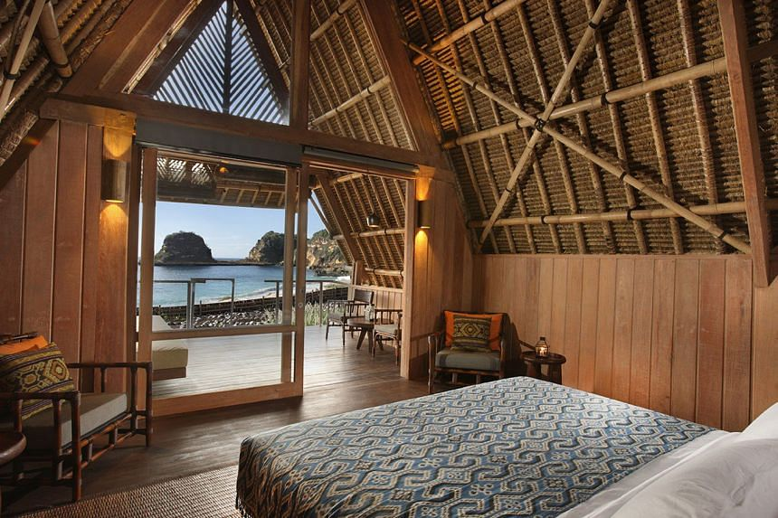 One of the Beruga Pantai lodges inspired by traditional Sasak fishing camps at Jeeva Beloam Beach Camp.