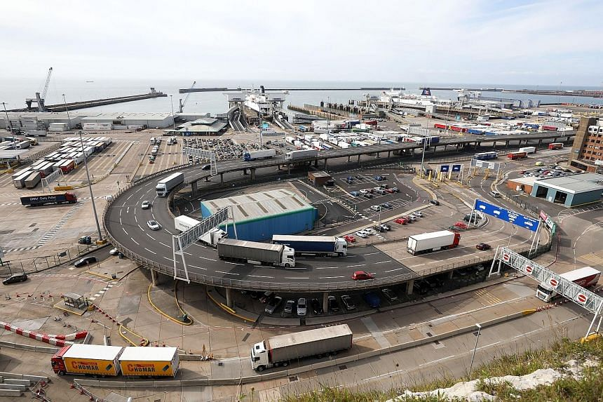 Lorries travel along an exit ramp at the Port of Dover. Britain says its membership of the EU Customs Union, which currently allows for the tariff-free movement of goods, will end along with its membership of the single market when it leaves the bloc