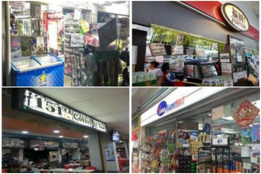 (Clockwise from top left) Jaya Ambiga Trading Pte Ltd, Fortune Supermarket, 151 Coffee & Tea, Value Supermart had their licences suspended between May and July for selling to minors.