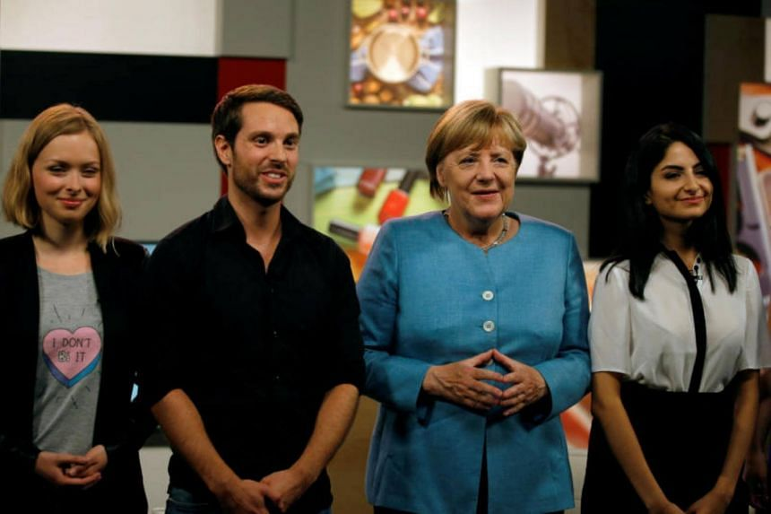 German Chancellor Angela Merkel meets the three German YouTubers Lisa Sophie (also known as ItsColeslaw), Mirko Drotschmann (MrWissen2Go) and Ischtar Isik in Berlin, Germany on Aug 16, 2017.