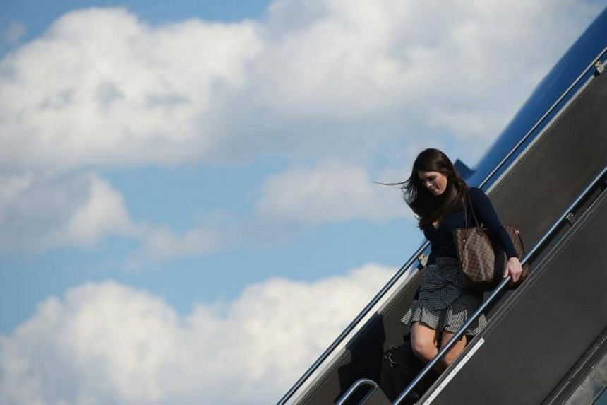 Hope Hicks, White House Director of Strategic Communications, steps off Air Force One upon arrival at Newark Liberty Airport in Newark, New Jersey on June 9, 2017.