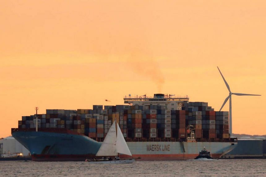 The Maersk ship Adrian Maersk is seen as it departs from New York Harbour in New York City, the United States.