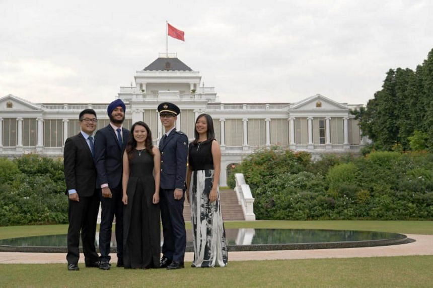 The President's Scholarship recipients (left to right) Mr. Lee Tat Wei, Mr Jasdeep Singh Hundal, Ms Agatha Sacha Lim Lee, Mr Lionel Oh and Ms Cheri Wee, all 19.