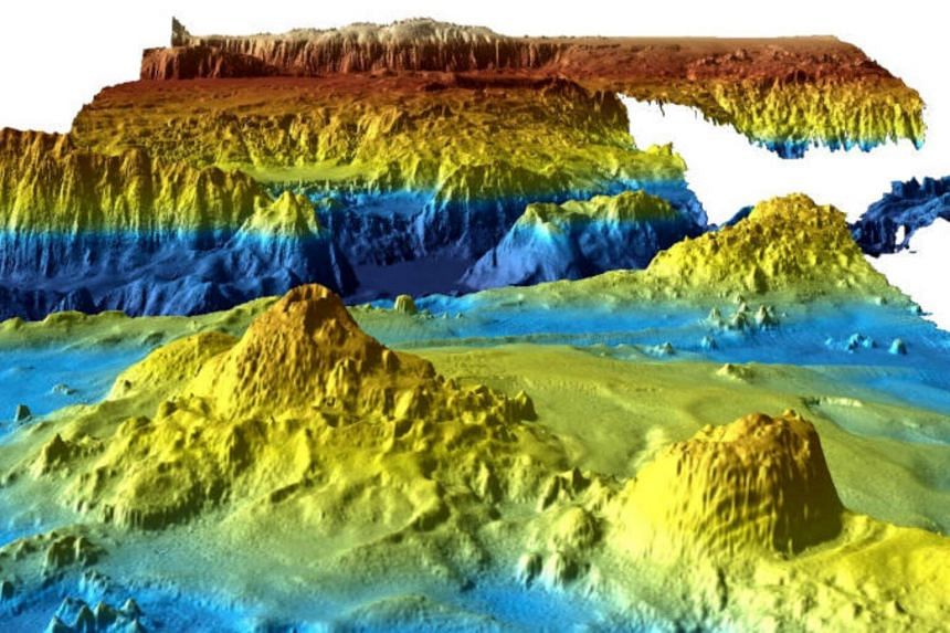 An image from Geoscience Australia shows a computer-generated three-dimensional view of the sea floor obtained from mapping data collected during the first phase of the search for missing Malaysia Airlines Flight MH370.