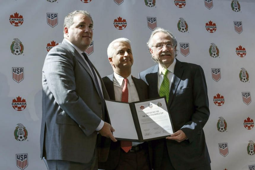 Sunil Gulati, President of the United States Soccer Federation (centre), next to Victor Montagliani CONCACAF President (left) and Decio de Maria President of the Mexican Football Federation (right) after announcing the next soccer 2026 World Cup in N