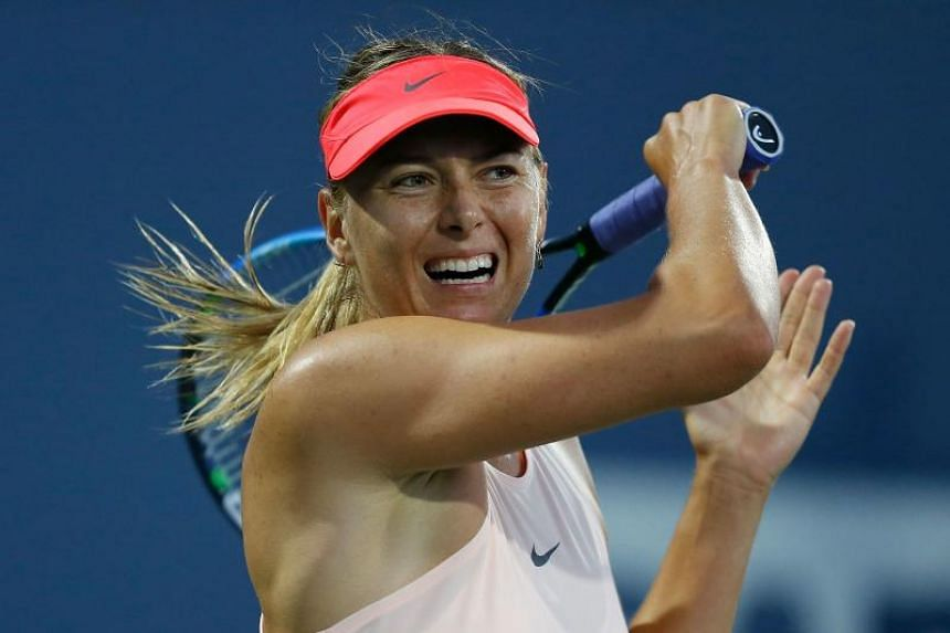 Maria Sharapova of Russia competes on the first day of the Bank of the West Classic at Stanford University Taube Family Tennis Stadium on July 31, 2017 in Stanford, California.