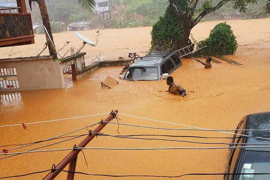 Flooded streets in Regent near Freetown, on Aug 14, 2017.