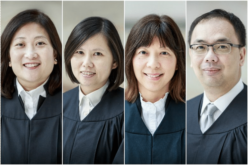 (From left) Judicial commissioners Thean Pik Yuen Valerie, Hoo Sheau Peng, Debbie Ong Siew Ling and Aedit Abdullah have been appointed as judges of the High Court.