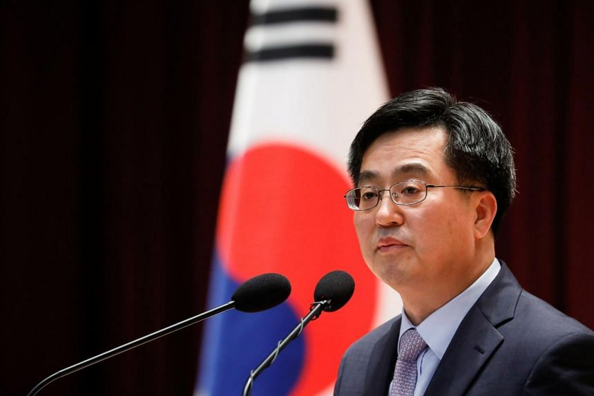 South Korean Finance Minister Kim Dong Yeon speaks during his inaugural ceremony in Sejong government complex in Sejong, South Korea.