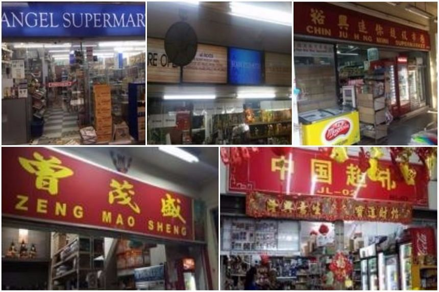 (Clockwise from top left) Angel Supermart, HNH Pte Ltd, Chin Ju Heng Mini Supermarket, Zhong Guo Chao Shi and Zeng Mao Sheng had their licences suspended between May and July for selling to minors.