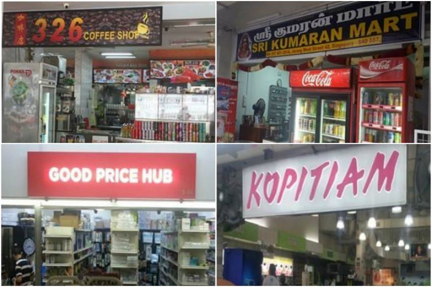 (Clockwise from top left) 326 Coffee Shop, Sri Kumaran Mart, Kopitiam Investment Pte Ltd and Good Price Hub had their licences suspended between May and July for selling to minors.