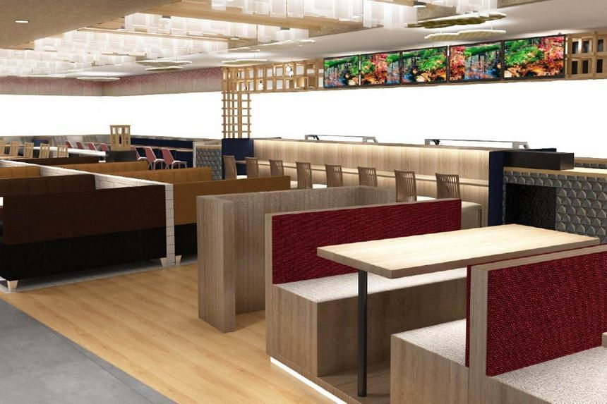 A concept drawing of the new ANA foodcourt at Changi Airport.