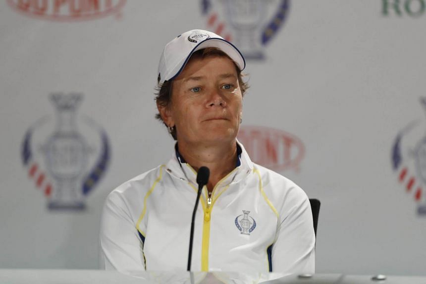 Europe player Catriona Matthew who was a vice-captain, is named as a replacement for Suzann Pettersen at a press conference during the second practice round for The Solheim Cup.