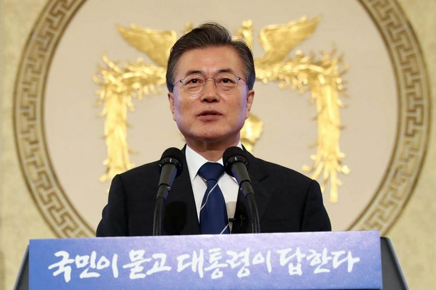 South Korean President Moon Jae In at a press conference in the presidential residence Cheong Wa Dae (Blue House) in Seoul, South Korea, on Aug 17, 2017.