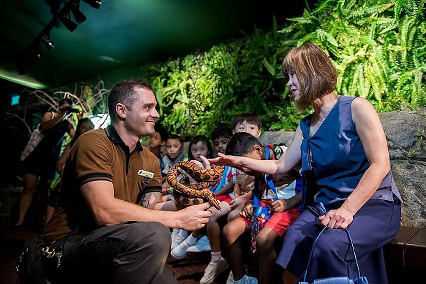 Right: Dr Amy Khor, who was present at the launch of RepTopia yesterday, touching a rainbow boa held by deputy head keeper Jose Cairos. Far right: The critically endangered Electric Blue Gecko, which in the wild exists only in a small, isolated pocke