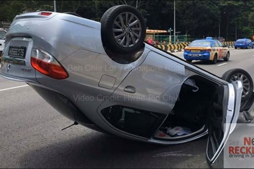 A man was left slightly injured after his car overturned on the AYE on Aug 16, 2017
