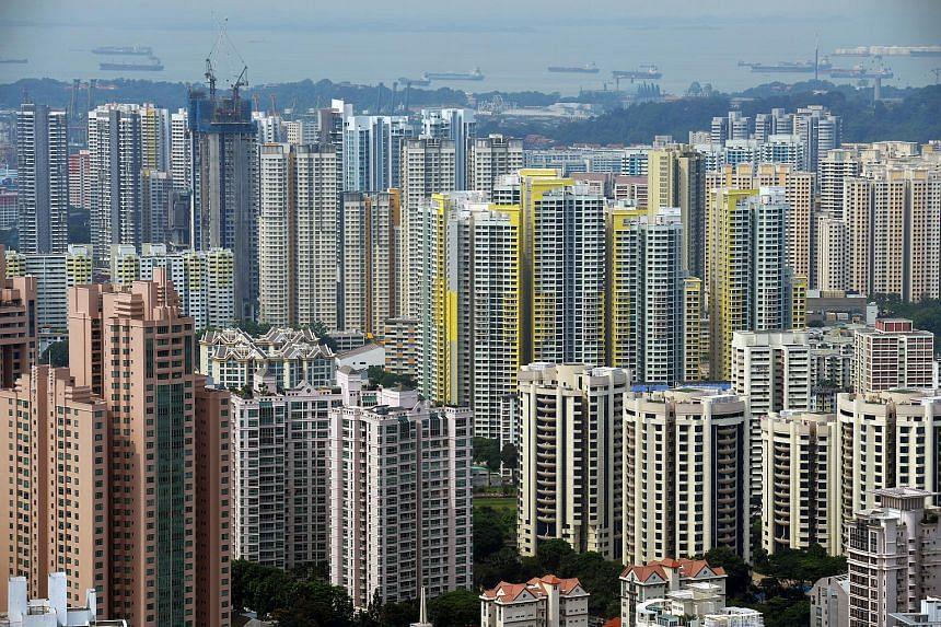 Private and public housing in Singapore.