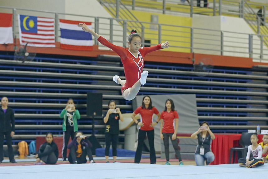 Singapore's Tan Sze En executing her floor routine at the Singapore Open Gymnastics Championships held at the Bishan Sports Hall on June 5, 2016.