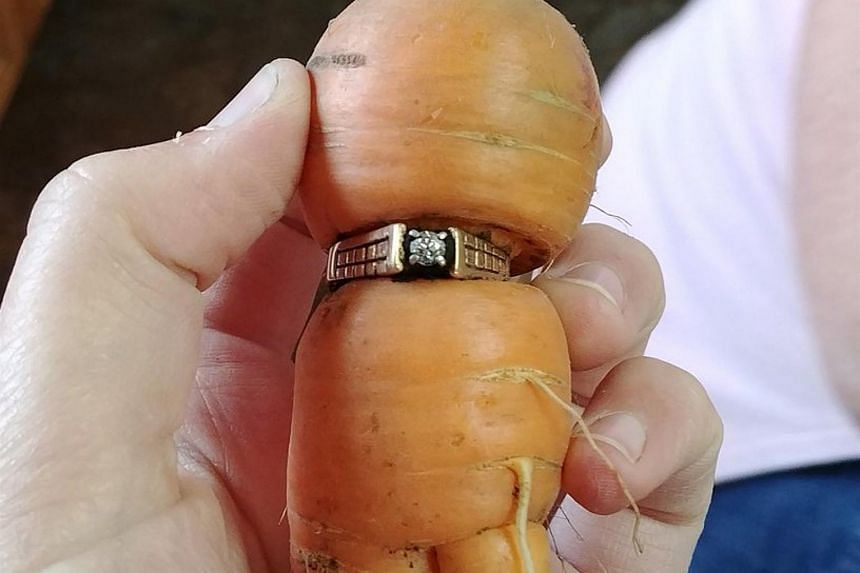 Mrs Mary Grams, 84, had lost her engagement ring while pulling weeds in September 2004.
