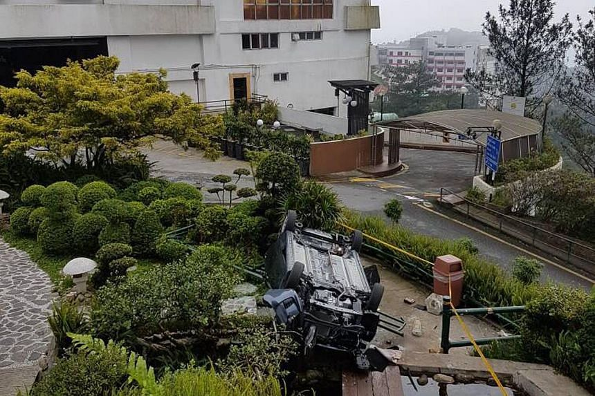Two men were killed after the car they were in crashed through a barrier at a hotel's multi-storey parking lot in Genting on Aug 17, 2017.