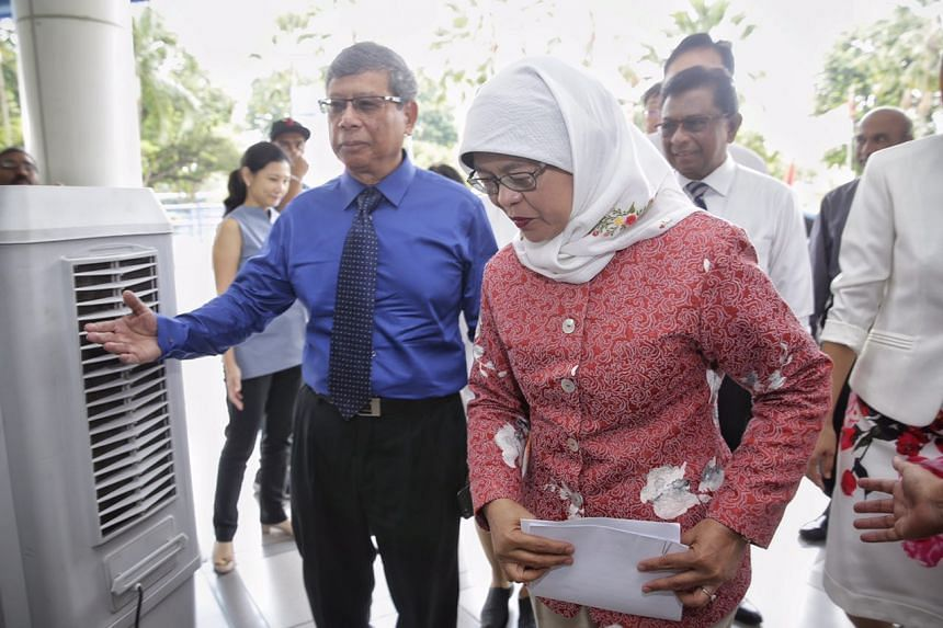 Presidential hopefuls Salleh Marican (left) and Halimah Yacob at the launch of Singapore's first Donor Human Milk Bank Programme on Aug 17, 2017.