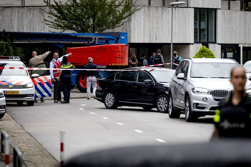 Dutch police securing the area near the NPO 3FM public radio-television building in Hilversum, on Aug 17, 2017.