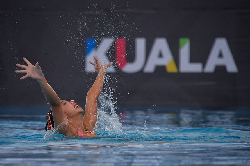 Swimmer Miya Yong performing her synchronised swimming routine during the solo free event on Aug 17, 2017. She finished with a bronze medal.