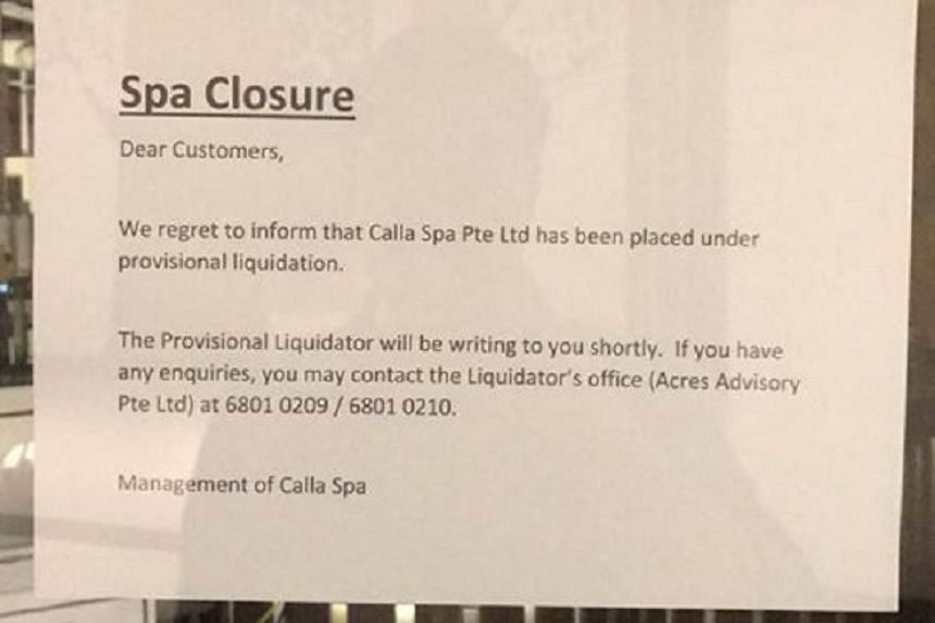 The spa, which was registered in 2015, has closed suddenly.