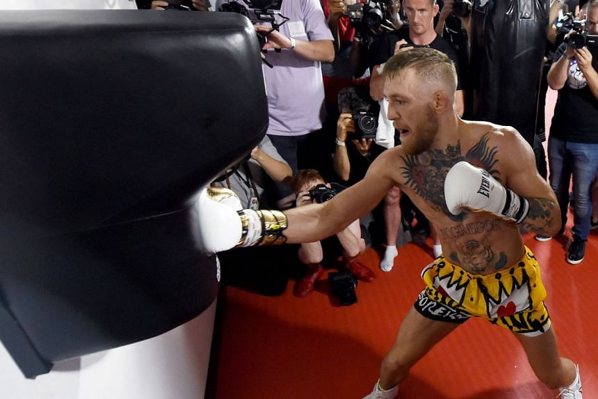 McGregor hits an uppercut bag during a media workout on Aug 11, 2017 in Las Vegas, Nevada.