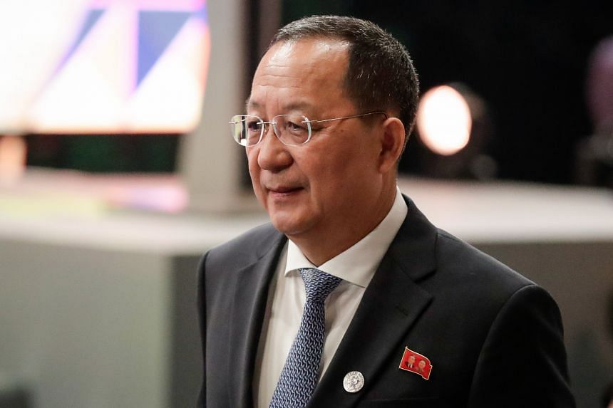 Mr Ri Yong Ho expresses North Korea's desire to hold a dialogue with Japan. Mr Taro Kono says Pyongyang should resolve nuclear and missile issues.