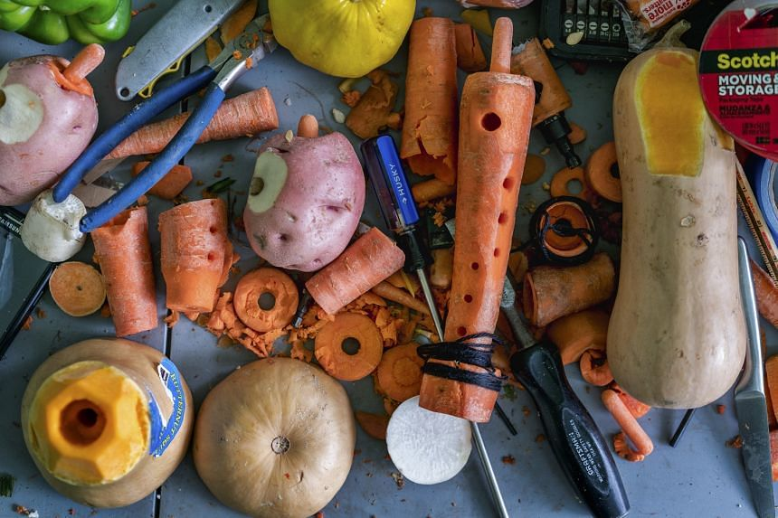 The vegetable instruments are fashioned anew before a performance.