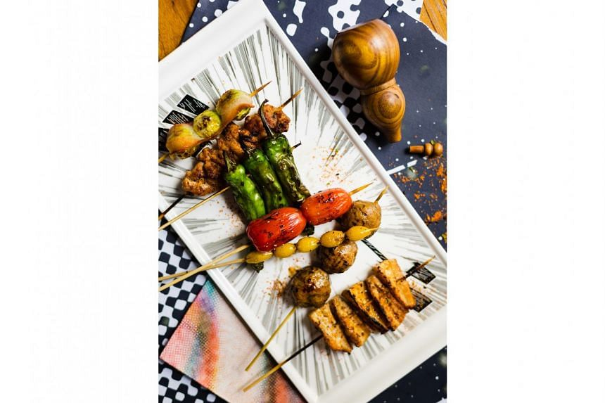 Japanese-style skewers with a Sichuan twist of spicy mala at Chikin.